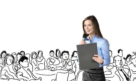 Mooie zaken vrouw spreekt op conferentie