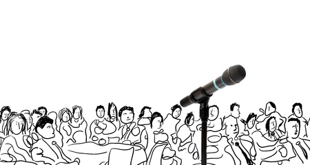 congress center: Conceptual illustration with microphone and hand drawn people Stock Photo