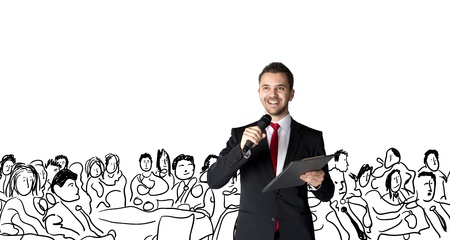 congress center: Handsome businessman is speaking on conference in hotel Stock Photo