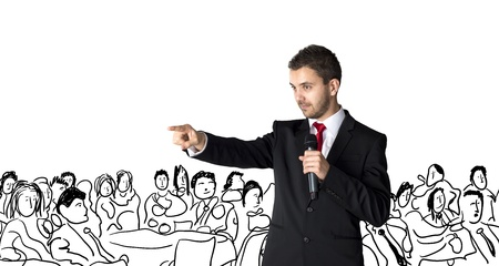 seminar: Handsome businessman is speaking on conference in hotel Stock Photo