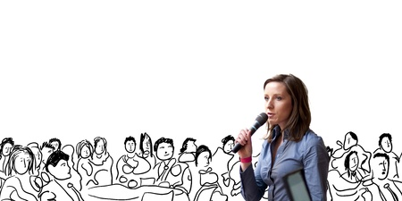 Belle femme d'affaires parle sur la conférence Banque d'images - 21228518