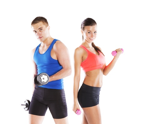 instructors: Athletic man and woman before fitness exercise Stock Photo
