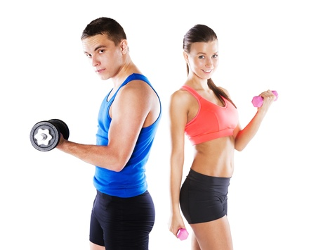 Athletic man and woman before fitness exercise Stock Photo