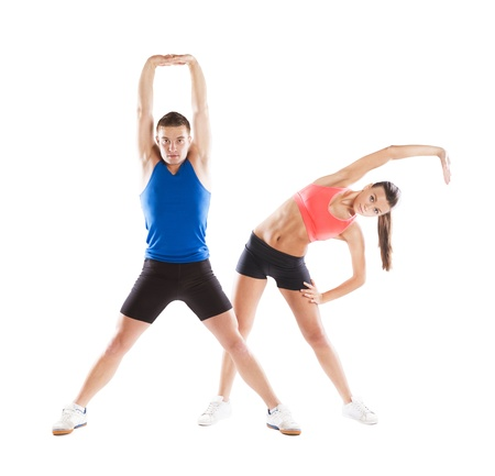 warmup: Athletic man and woman before fitness exercise Stock Photo
