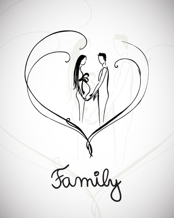 adult sisters: Vector illustration with hand drawn happy family Illustration