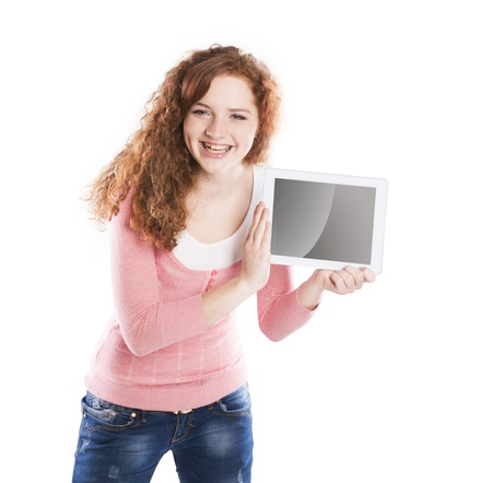 Woman with pc tablet is isolated on white background photo