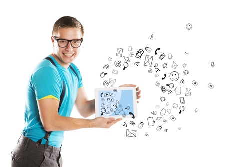 Handsome young man with tablet is using social media Stock Photo - 21620980