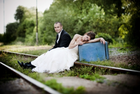 Happy bride and groom on their wedding day Stock Photo - 21805586
