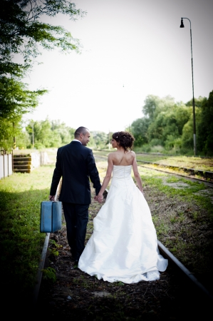 happily: Happy bride and groom on their wedding day