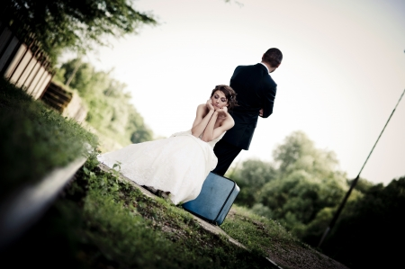 outdoor wedding: Happy bride and groom on their wedding day