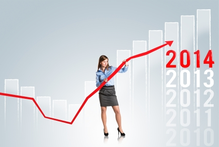 comparative: Business woman is trying to increase market statistics  Stock Photo