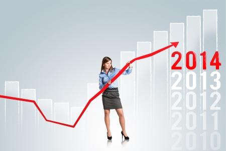 Femme d'affaires cherche ? augmenter les statistiques du march?