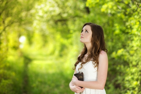 learning pray: Beautiful woman with Bible is in sunny nature