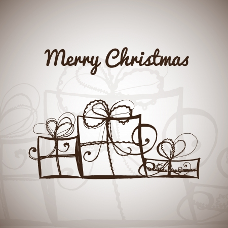 Hand drawn christmas vector illustration template with sample text illustration