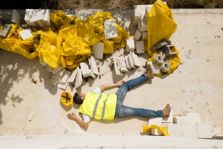 body work: Construction worker has an accident while working on new house
