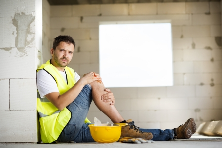 break down: Construction worker has an accident while working on new house