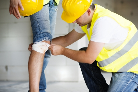 bad accident: Construction worker has an accident while working on new house