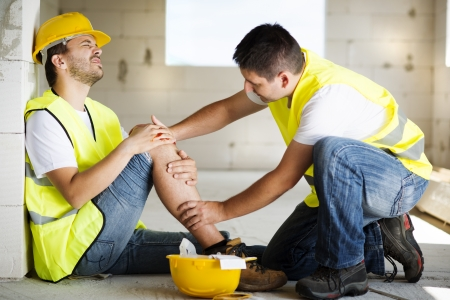 Construction worker has an accident while working on new house Stock Photo - 22225577