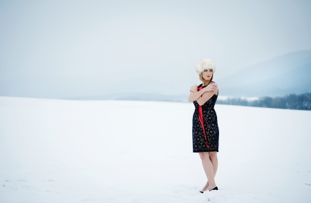 Attractive model in fashion dress in winter country photo