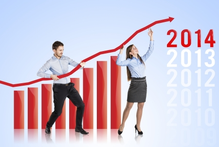 Business woman and man are trying to increase market statistics  photo