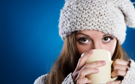 Woman with cup Banco de Imagens
