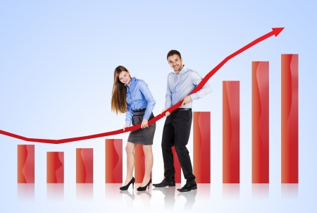 year increase: Business woman and man are trying to increase market statistics