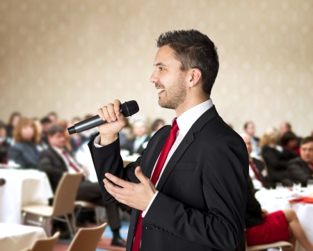 conference room: Man is speaking on indoor business conference for managers  Stock Photo
