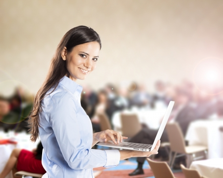 lecture room: Public indoor business conference for modern managers  Stock Photo