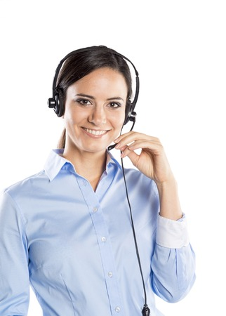 Bella call center giovane donna pronta per il supporto e il contatto photo