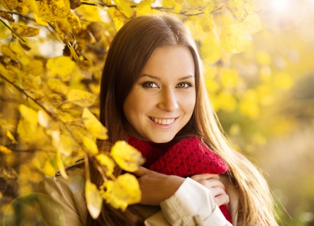 Portrait of beautiful girl in autumn park with yellow leaves photo