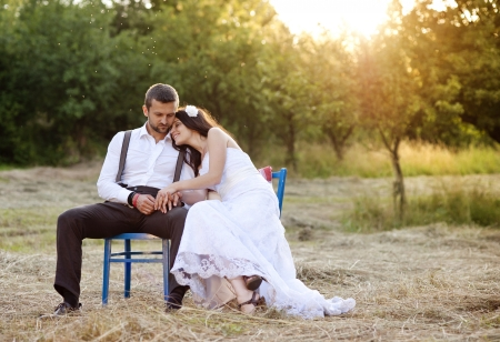 Beautiful bride and groom portrait in nature photo