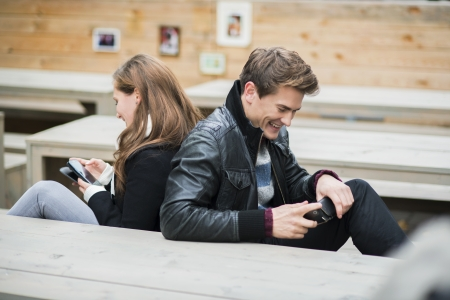 phono: Hapy couple is having date in the street of city Stock Photo