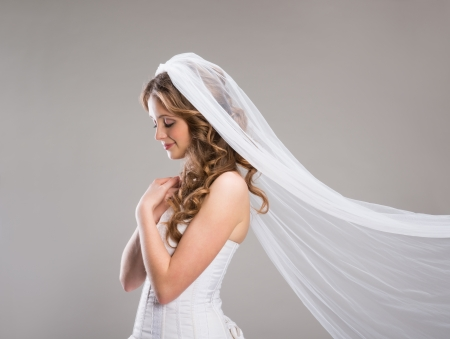 bridal veil: Portrait of beautiful bride with veil isolated over gray background Stock Photo