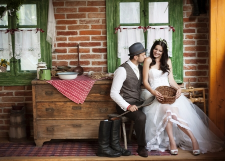laughing: Beautiful bride and their country style wedding
