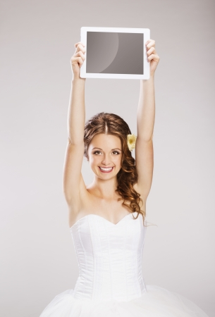 silk screen: Studio portraits with beautiful bride isolated on gray background