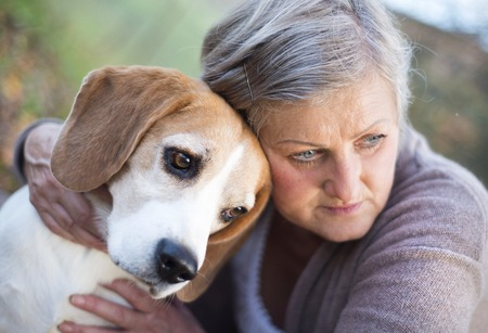 active seniors: Senior woman hugs her beagle dog in countryside Stock Photo