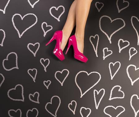Feet on black background photo