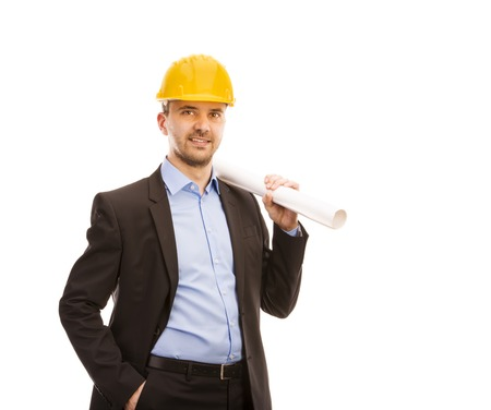 civil: Young engineer with yellow helmet is isolated on white background