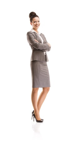 Professional business woman in suit  Full body studio portrait isolated on white background  photo