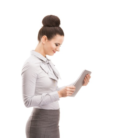 Beautiful business woman with digital tablet isolated over white background  photo