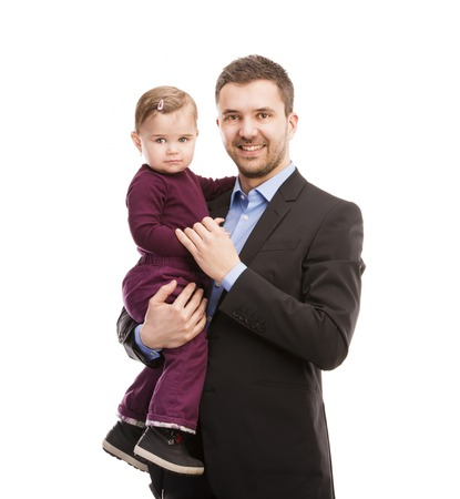 Father as manager with his baby isolated over white background  photo