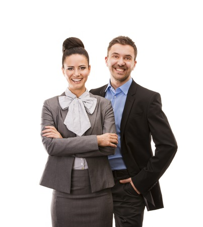 Young smiling business woman and business man isolated over white background photo