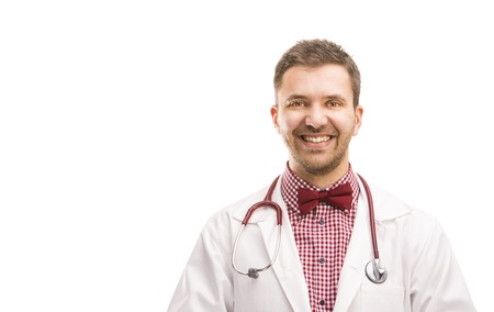 Smiling medical doctor man with stethoscope  Isolated on white background  photo