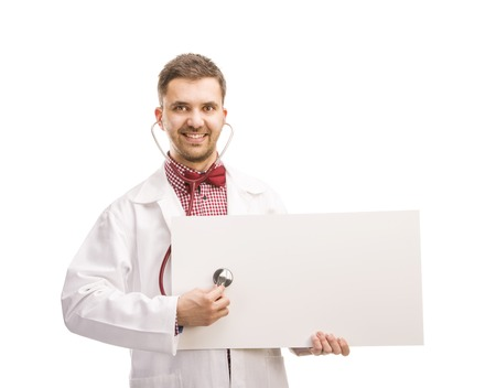 jazzbow: Smiling medical doctor man with stethoscope  Isolated on white background