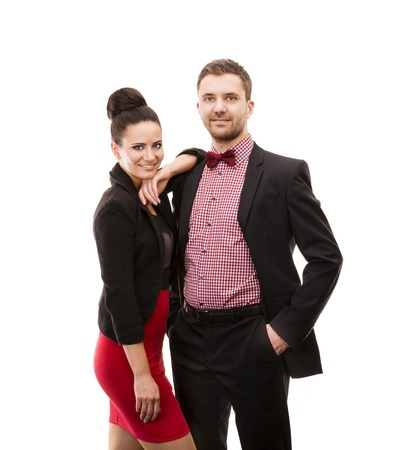jazzbow: Happy young couple in evening dress  Isolated on white background
