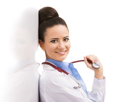 Smiling medical doctor woman with stethoscope  Isolated on white background  photo