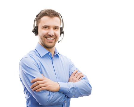 Call center operator isolated on white  Young handsome man with headset  Stock Photo