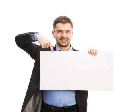 Successful business man is posing with blank copy space  Manager is isolated on white background  Stock Photo