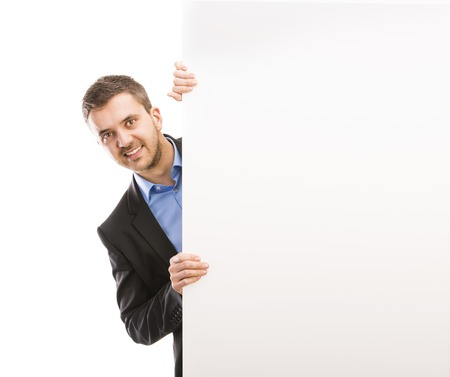 Successful business man is posing with blank copy space  Manager is isolated on white background Stock Photo - 26338082