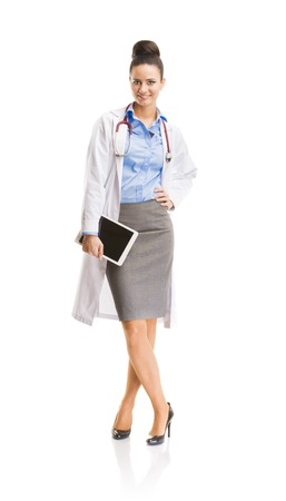 Smiling medical doctor woman with stethoscope  Full body portraits isolated on white background  photo